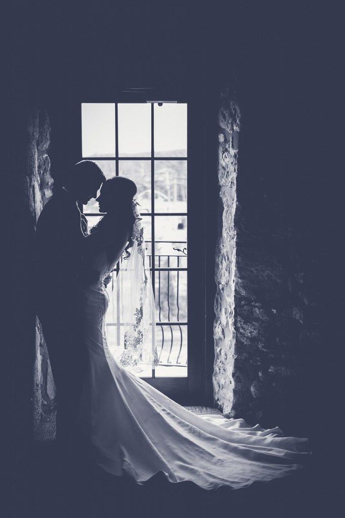 bride, couple, dark